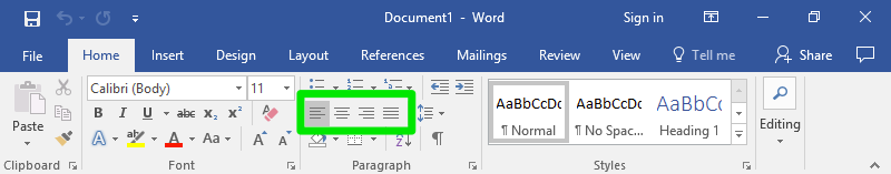 A microsoft word document is open zoomed in specifically on the ribbon section. On the close up of the ribbon section, the four alignment options are highlighted by a green box.