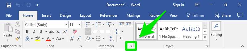 A microsoft word document is open zoomed in on the ribbon bar. A green arrow is pointing at paragraph dialog box which has already been surrounded by a green box.
