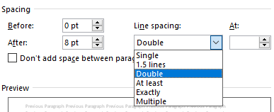 The spacing menu has been opened and in it the dropdown for the line spacing has been opened.