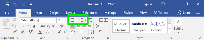 A microsoft word document is open displaying a zoom in on the ribbon section of the page. The home option has been selected and on this page a green box is highlighting two separate parts. On the left side of the box is the bulleted list feature and on the right is the numbered list option.