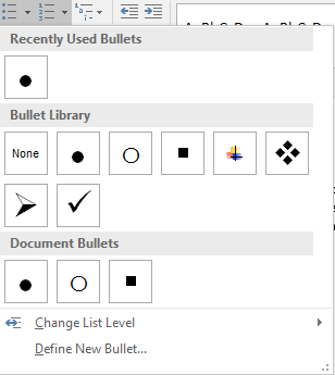 Multiple bullet list options are listed in the recently used bullets menu.
