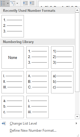 Numbered format list options are listed in the recently used number formats menu.