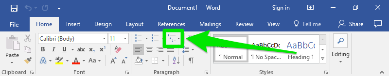 A microsoft word document is open displaying a zoom in on the ribbon section of the page. The home option has been selected and on this page a green arrow is highlighting where the list level options menu is.