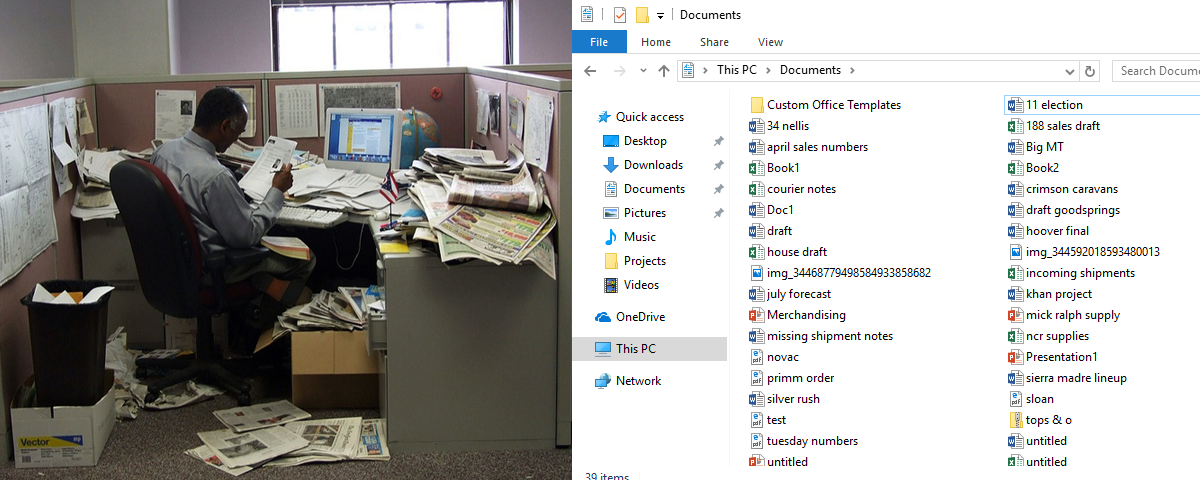 An image of a man sitting amongst a cluttered assortment of physical files is directly next to an image of a windows file center. This shows the ease and simplicity of storing files virtually.