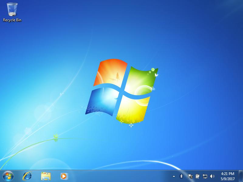 A blank Windows 7 desktop.