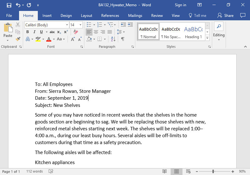 A Microsoft Word document is open with a memo written on it. The third line of the document is selected.