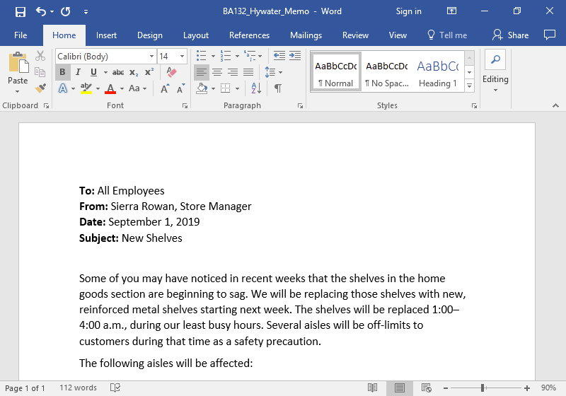 A Microsoft Word document is open with a memo written on it. The first word in the top four lines have been bolded.