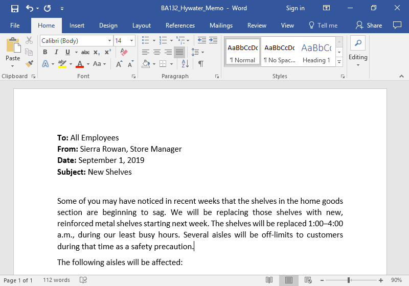 A Microsoft Word document is open with a memo written on it. The memo has been justified.
