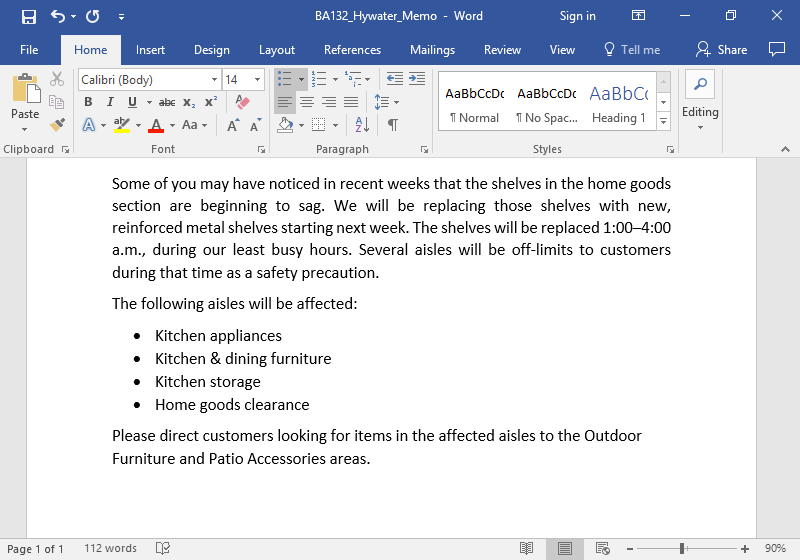 A Microsoft Word document is open with a memo written on it. A bulleted list showing the affect of this memo is displayed.