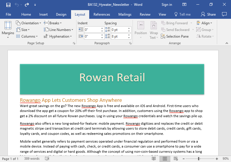 A microsoft word document showing a newsletter from Rowan Retail is displayed.