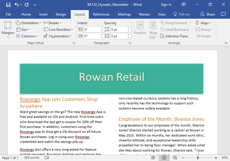 A microsoft word document showing a newsletter from Rowan Retail is displayed. The content of the newsletter has been separated into two columns.