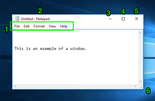 """A window in the Windows 10 desktop is open. On it there is a sentence saying, """"This is an example of a window."""" There are 6 green numbers (1,2,3,4,5,6) plotted carefully on the image. The 1 is next to a green box with the options to go to File, Edit, Fomat, View, and Help all inside of it. The 2 is next to the title of the window (Untitled-Notepad). The 3 is above a minimize button. The 4 is above a full-screen option. The 5 is above the close option and the 6 is to the right of the expand feature."""