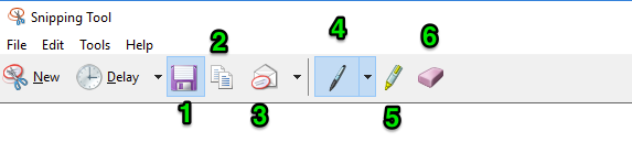 The snipping tool window is open. There are six green numbers each identifying a different feature of the snipping tool. The first one represents the save feature. The second identifies where the copy button is. The third numbers shows where the send to feature is. The fourth identifies the pen option. The fifth one demonstrates where the highlighter is and the sixth number points out where the eraser option is found.