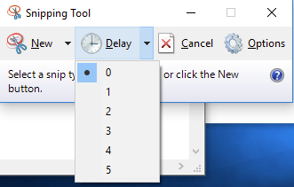The snipping tool is open and the delay section has been clicked on. There is a dropdown menu with the option to select from 6 different times listed(0,1,2,3,4,5,6).