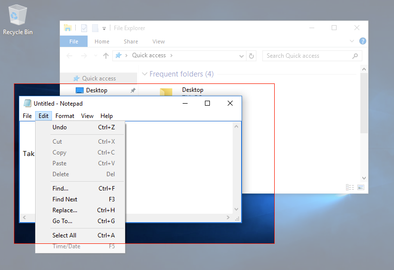 Image of a Windows 10 Desktop with two individual windows open. One is a file finder and the other is a textbook. In front of the file finder is a large red box, indicating that there is a screenshot using the snipping tool in progress specifically on the text box.