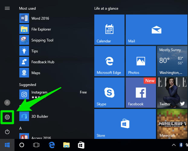 "Windows 10 start menu with ""control panel"" being highlighted by a green box with an arrow pointing at it."