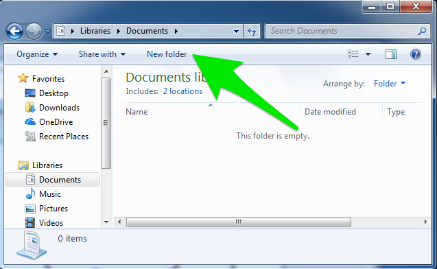 "A file finder window is open specifically on the documents page. There is a green arrow pointing towards the option to create a ""New Folder"" in Windows 7."