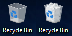 An empty recycle bin on the left and a full recycle bin on the right.