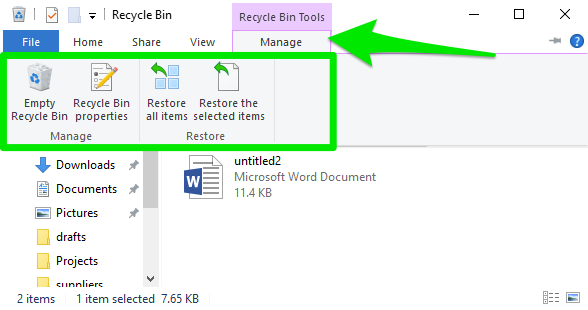 A recycle bin showing the multiple options on how to manage the bin.