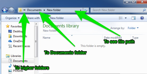 "A file finder window is open with three green arrows pointing in different directions. The first is pointing ""To Higher Folders"" the second is pointing at the ""Documents Folder"" and the third is aimed at the ""File Path""."