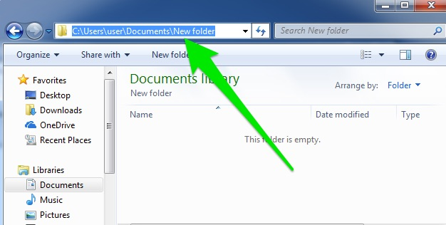 In the documents library there is an option to highlight the entire file path which you can then copy and paste elsewhere.