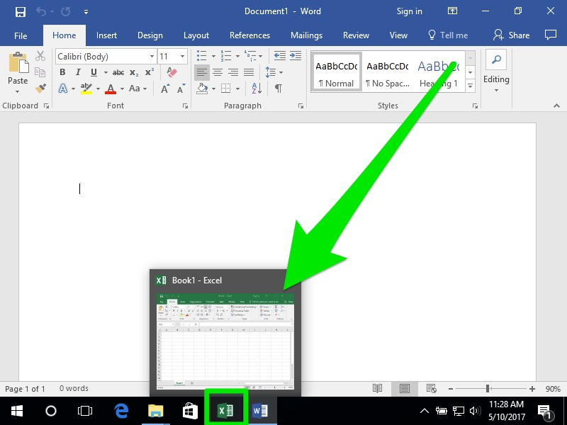 A blank Microsoft Word document. On the bottom in the tool bar an Excel Sheet is being hovered over making it expand into a miniature window. There is a massive green arrow pointing to the small excel sheet coming coming from the top right corner and pointing downwards and to the left.