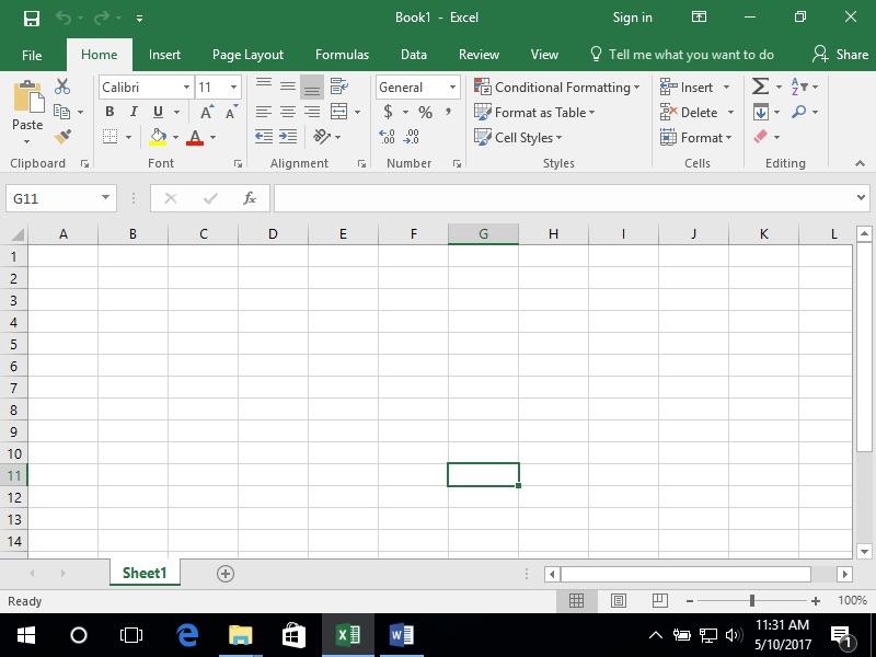 A blank Microsoft Excel sheet is open.