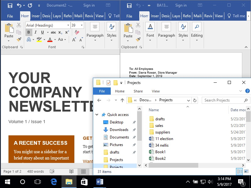 There are two Microsoft Word documents open each taking up one half of the scree. Each document has it's own specific text. The file finder for the operating system has been opened and is being displayed over the majority of the document on the right side of the screen. It is only partially covering the document on the left side of the screen.