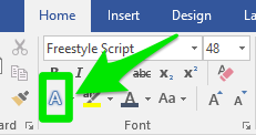 Zoom in on the ribbon bar of a Microsoft Word document. A green arrow is pointing at a smaller green box which is highlighting where the text effects button is.