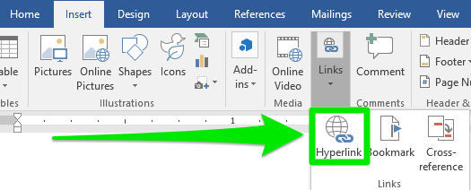 """A zoom in of the ribbon menu on a Microsoft Word document is open. The """"Links"""" tab has been selected opening up a new dropdown menu. A green arrow is pointing to a green box which is highlighting the """"Hyperlink"""" option on the new dropdown menu."""