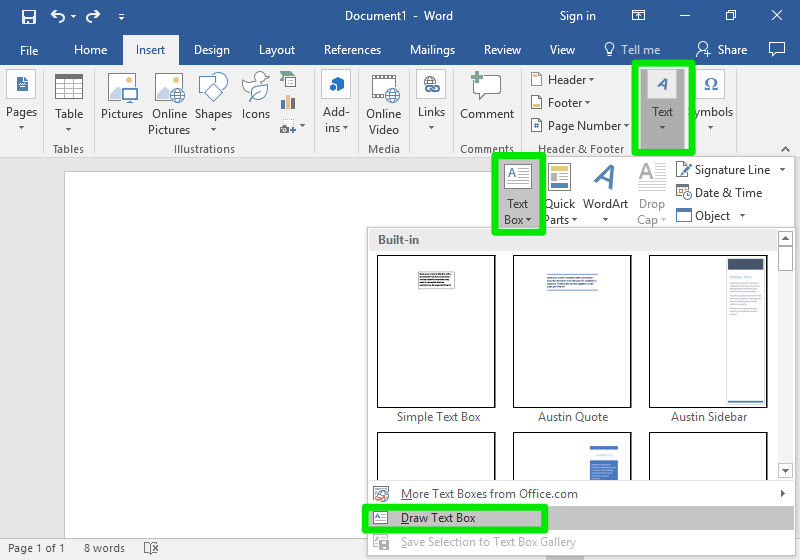 "A blank Microsoft Word document is open. There are three green text boxes show. The first one is in the ribbon menu under the tab ""Text"". The second box surrounds a menu called ""Text Box"" which has opened up as a result of clicking the ""Text"" tab which surrounds the first box. The third box surrounds ""Draw Text Box"" which is from the dropdown menu of ""Text Box""."