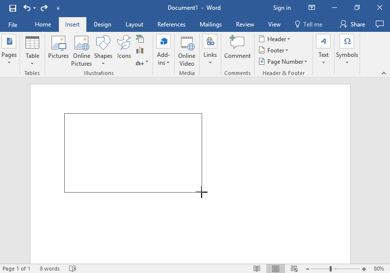 A blank Microsoft Word document is open. In the middle of the document a medium size text box has been drawn.