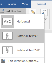 The ribbon menu on a Microsoft Word document is open on the format tab. The text direction dropdown menu has been opened allowing different options to adjust the way the text box is displayed.