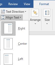 The ribbon menu on a Microsoft Word document is open on the format tab. The align text dropdown menu has been opened allowing different options to align the text.
