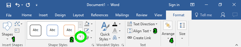 "A zoom in on the ribbon menu in a Microsoft Word document is displayed. There are four different green numbers displayed. The first one stands for ""Shapes"", the second one stands for ""Styles"", the third represents ""Text"", and the fourth demonstrates where the ""Arrange"" feature is."