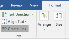 The ribbon menu on a Microsoft Word document is open on the format tab. The create link option has been highlighted in gray.