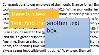 In the background there is a large section of text in a text box. There are two text boxes displayed in the foreground. The first has a yellow background with two sentences of text in white. The other is a blue text box with one sentence of text in black.