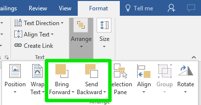 The ribbon menu on a Microsoft Word document is open on the format tab. The arrange dropdown menu has been opened allowing different options to either bring a text box forward or backward.