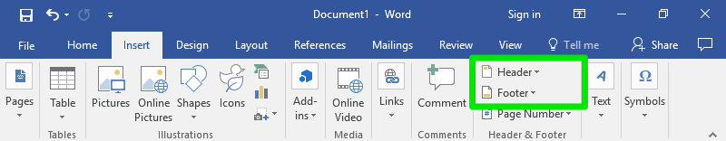 A Microsoft Word document that has been zoomed in on the ribbon. A green box surrounds the header and footer feature.