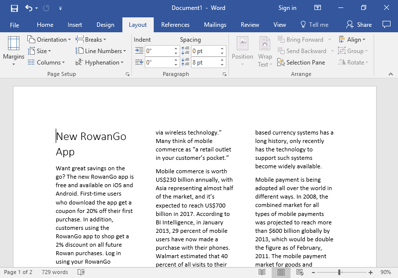 A Microsoft Word document is open with text on it.