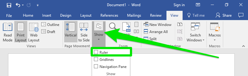 A green arrow is pointing towards the show button on the view tab of the ribbon. In the dropdown menu of show a green box has been displayed highlighting the ruler tool.