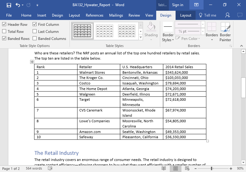 A Microsoft word document with a table on it.