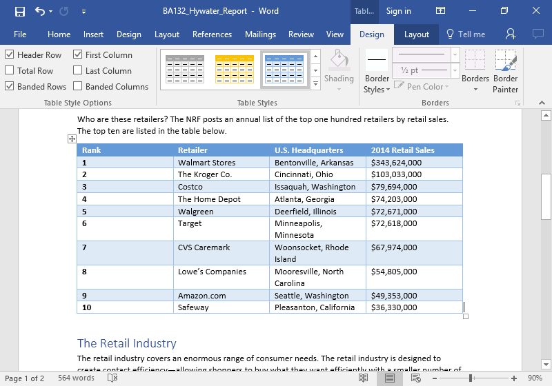 A Microsoft word document with a table on it. The table has been edited to have a blue theme.