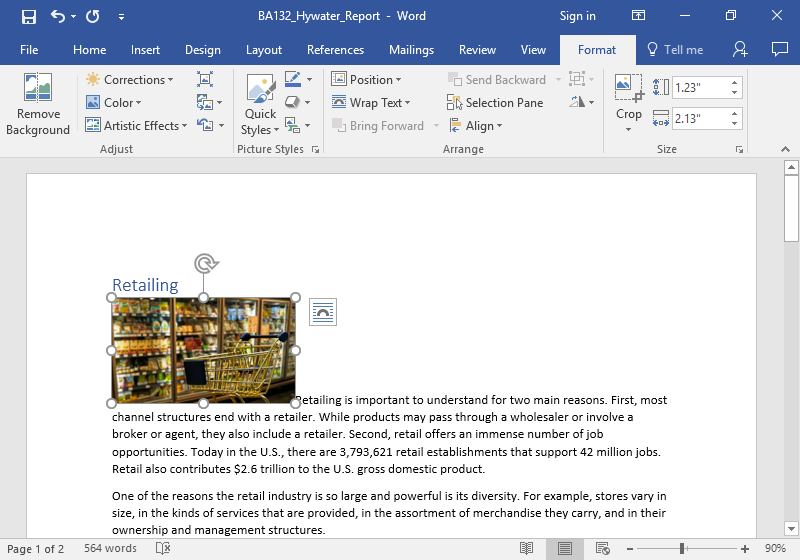 A Microsoft word document with text on it. An image of a golden shopping cart is stationary in front of the frozen foods aisle at a grocery store. The shopping cart is empty.