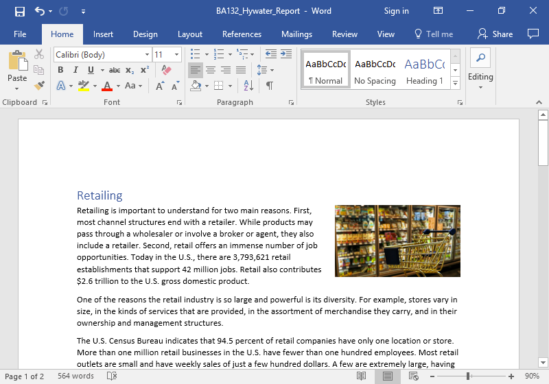 A Microsoft word document with text on it. An image of a golden shopping cart is stationary in front of the frozen foods aisle at a grocery store. The shopping cart is empty. The image has been aligned to the right and has been formatted to fit into the text.