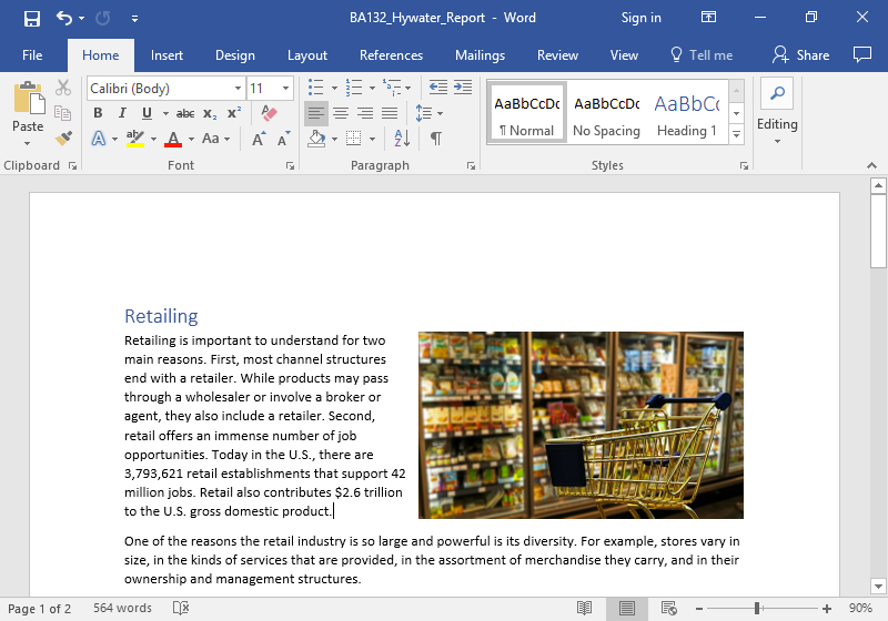 A Microsoft word document with text on it. An image of a golden shopping cart is stationary in front of the frozen foods aisle at a grocery store. The shopping cart is empty. The image has been aligned to the right and has been formatted to fit into the text. The image has been resized to be displayed bigger.