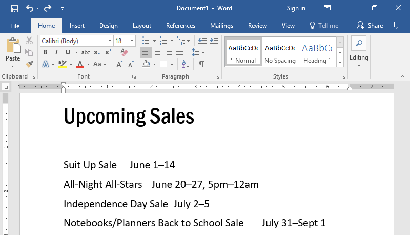 The top half of a Microsoft Word document is displayed with text. The point of this image is to show there are no tab stops.