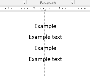 4 lines of text with center tab on.