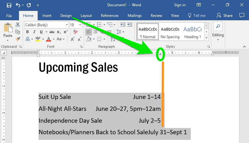 A word document with text on it. A green arrow is pointing to the direction of where the right tab option is in the ribbon menu.