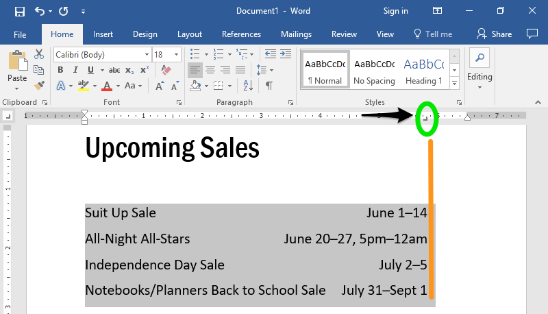 A word document with text on it. A green oval is pointing to where the right tab option is in the ribbon menu. A black arrow is also shown displaying the adjustment of the right tab, moving from left to right.